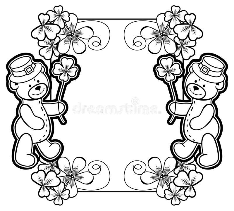 Overzichtskader met klavercontour en teddybeer Roosterklem stock afbeelding