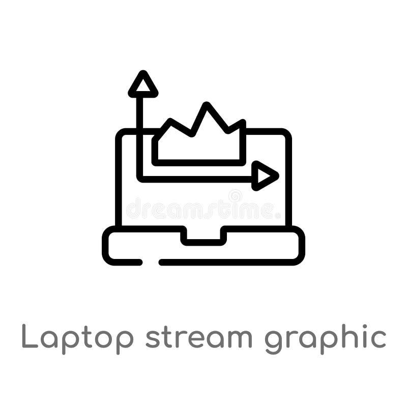 overzichtslaptop stroom grafisch vectorpictogram de geïsoleerde zwarte eenvoudige illustratie van het lijnelement van computercon royalty-vrije illustratie