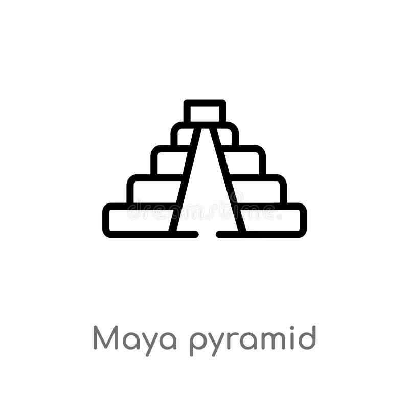 overzichtsmaya piramide vectorpictogram de ge?soleerde zwarte eenvoudige illustratie van het lijnelement van monumentenconcept Ed stock illustratie
