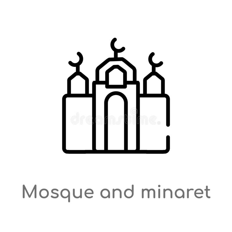overzichtsmoskee en minaret vectorpictogram de ge?soleerde zwarte eenvoudige illustratie van het lijnelement van concept godsdien royalty-vrije illustratie