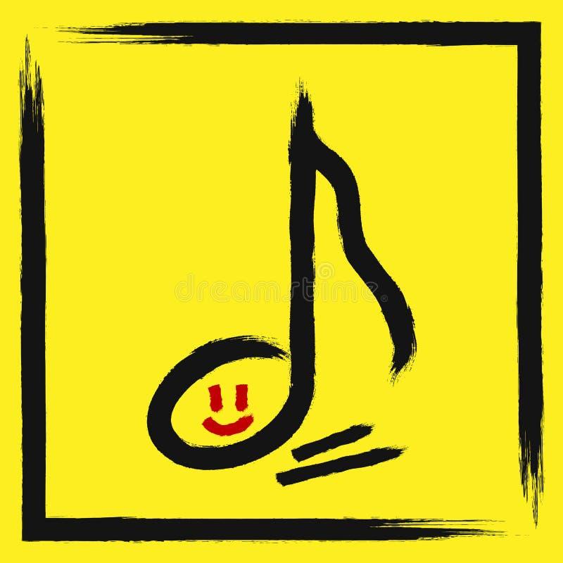 Overzichtsmuzieknoten met het glimlachen gezicht in gescheurd kader Getrokken met een ruwe borstel vector illustratie