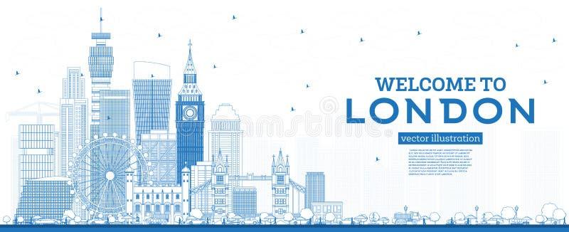 Overzichtsonthaal aan de Horizon van Londen Engeland met Blauwe Gebouwen vector illustratie