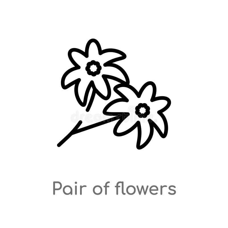 overzichtspaar van bloemen vectorpictogram de geïsoleerde zwarte eenvoudige illustratie van het lijnelement van aardconcept Edita stock illustratie