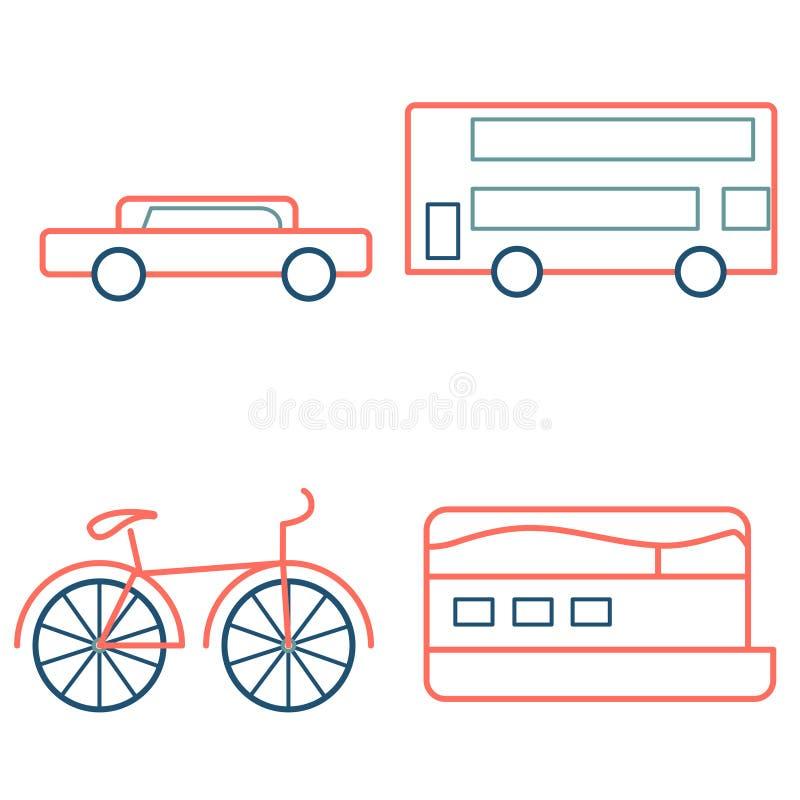 Overzichtspictogrammen in de kleur van het koraalverlof Auto, bus, boot en fiets, vectorillustratie royalty-vrije illustratie