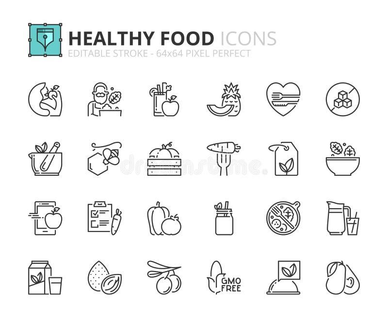 Overzichtspictogrammen over gezond voedsel royalty-vrije illustratie