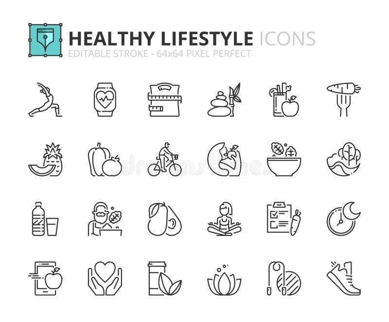 Overzichtspictogrammen over gezonde levensstijl royalty-vrije illustratie