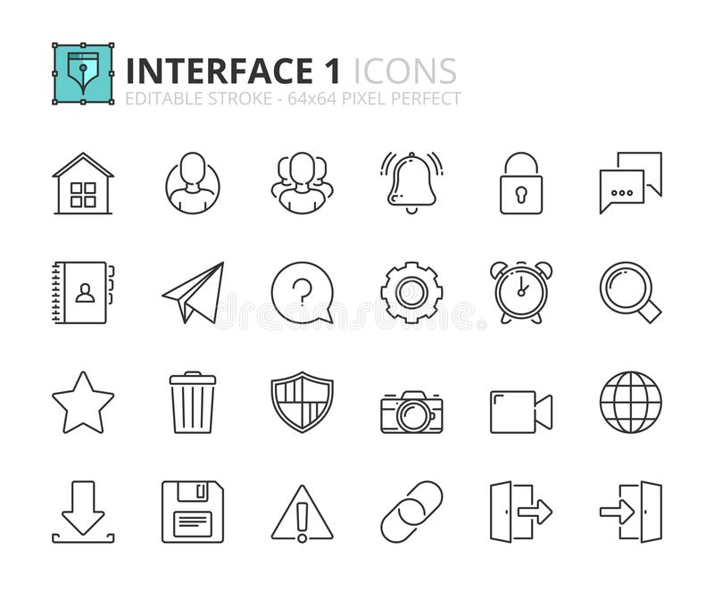 Overzichtspictogrammen over interface 1 stock illustratie