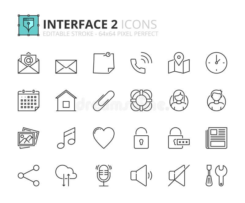 Overzichtspictogrammen over interface 2 vector illustratie
