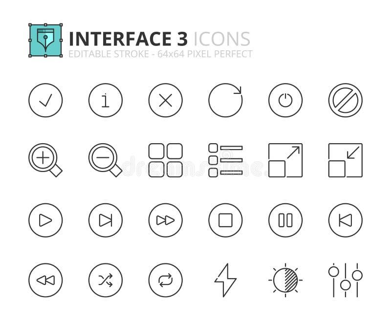 Overzichtspictogrammen over interface 3 royalty-vrije illustratie