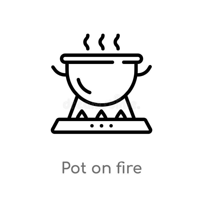 overzichtspot op brand vectorpictogram de ge?soleerde zwarte eenvoudige illustratie van het lijnelement van het kamperen concept  royalty-vrije illustratie