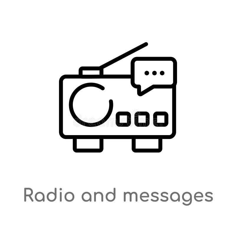 overzichtsradio en berichten vectorpictogram de geïsoleerde zwarte eenvoudige illustratie van het lijnelement van technologieconc vector illustratie