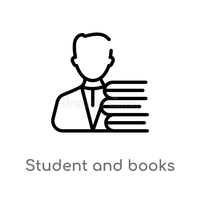 overzichtsstudent en boeken vectorpictogram r Editablevector royalty-vrije illustratie