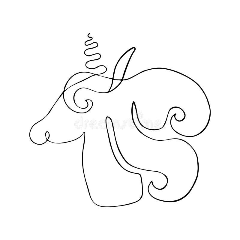 Overzichtstekening van eenhoorns Lineair silhouet van fantastisch schepsel, mystiek dier royalty-vrije illustratie