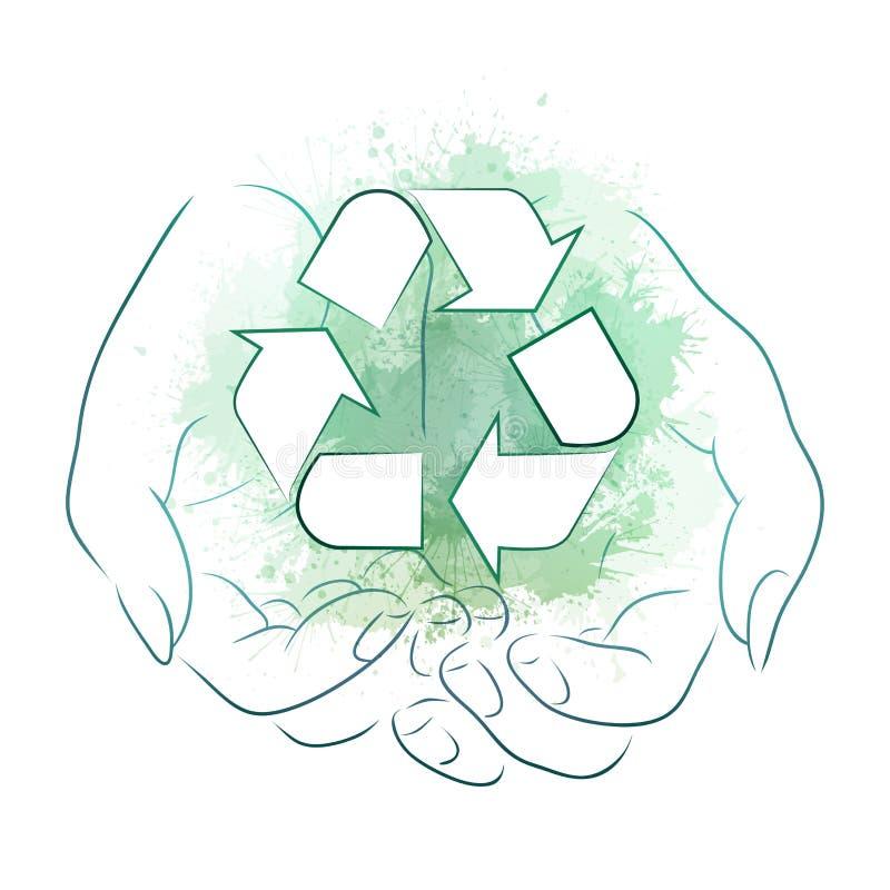 Overzichtstekening van handen die een teken van recycling met groene waterverfplonsen houden Recycling en Nul Afval royalty-vrije illustratie