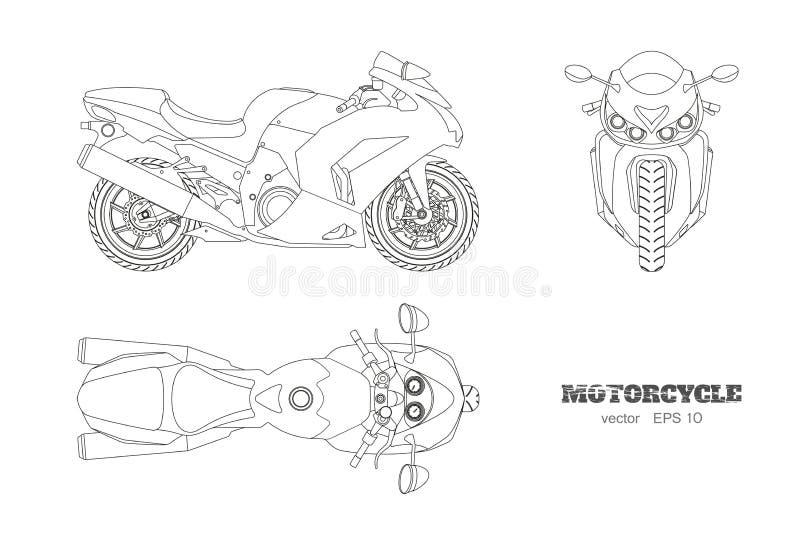 Overzichtstekening van motorfiets Zij, hoogste en vooraanzicht Gedetailleerde geïsoleerde blauwdruk van motor op witte achtergron stock illustratie