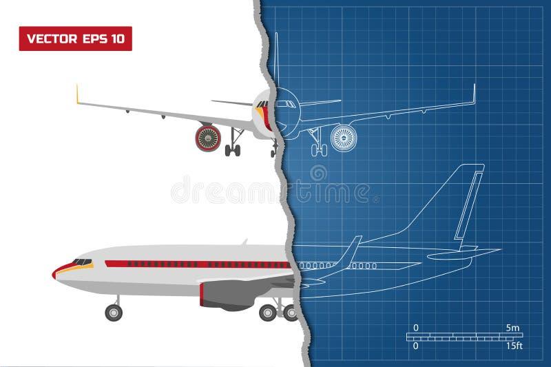 Overzichtstekening van vliegtuig op een blauwe achtergrond Industriële blauwdruk van vliegtuig Kant en Front View royalty-vrije illustratie