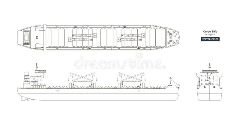 Overzichtstekening van vrachtschip op een witte achtergrond Hoogste, zij en vooraanzicht van tanker vector illustratie