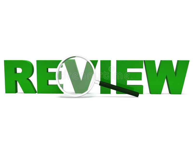 Overzichtsword toont Beoordeling de Evaluatie evalueert en herziet stock illustratie
