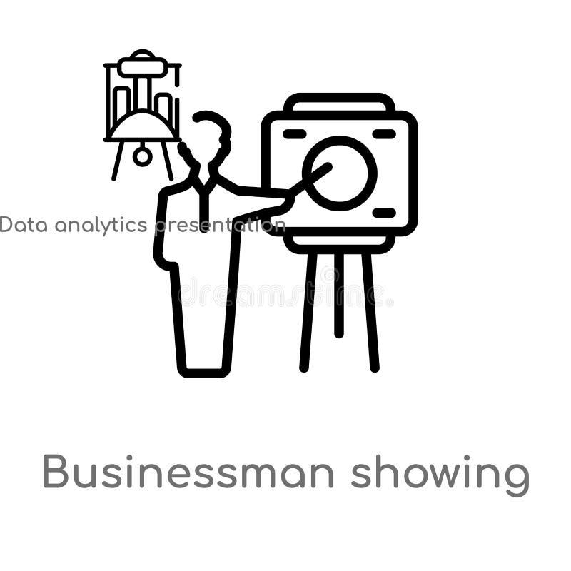 overzichtszakenman die een projectschets vectorpictogram tonen de geïsoleerde zwarte eenvoudige illustratie van het lijnelement v stock illustratie
