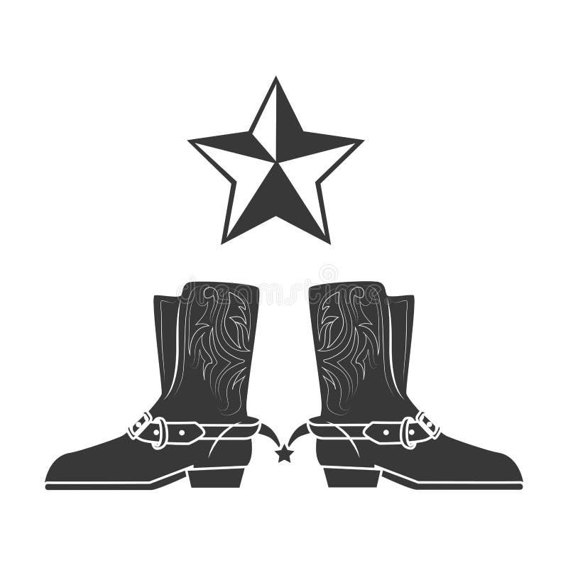 Ovest selvaggio degli stivali di cowboy illustrazione di stock