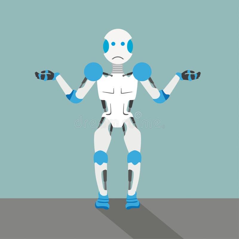 Ovetande robot för tecknad film royaltyfri illustrationer