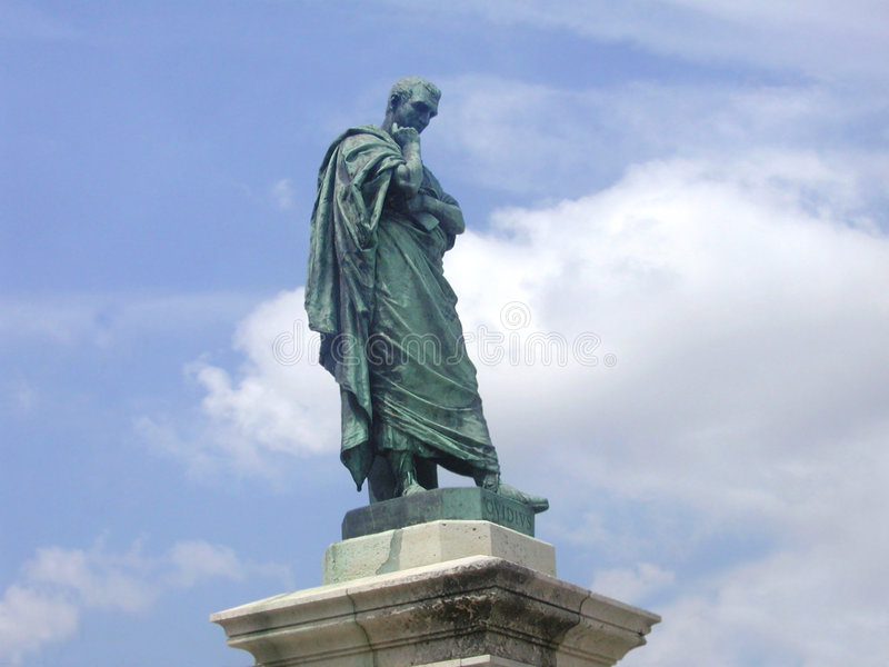Download Ovidius Statue stock photo. Image of time, stone, clouds - 58264