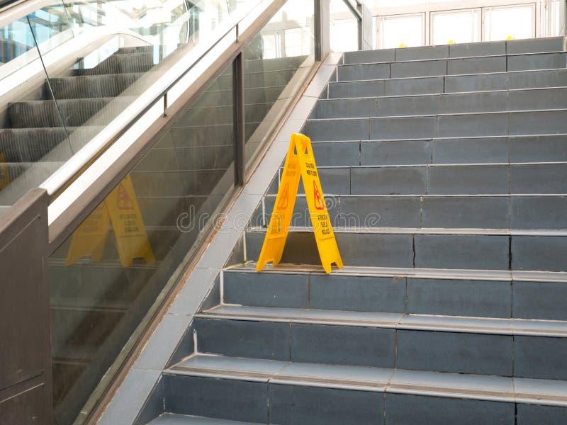 OVIEDO, SPAIN - NOVEMBER 1 2015: Foldable plastic wet floor sign stock photos