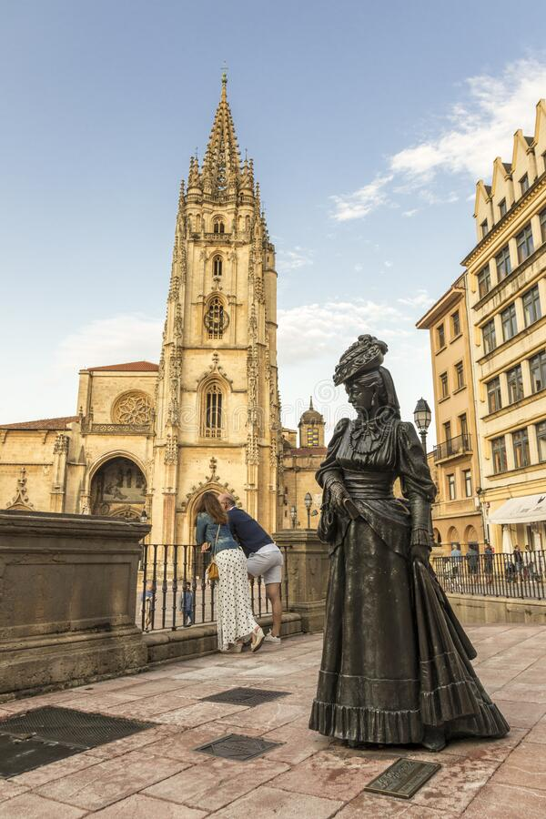 La Regenta, Oviedo, Spain. Oviedo, Spain. Statue of La Regenta, from the realist novel by Spanish author Leopoldo Alas Clarin, in front of the Cathedral royalty free stock images