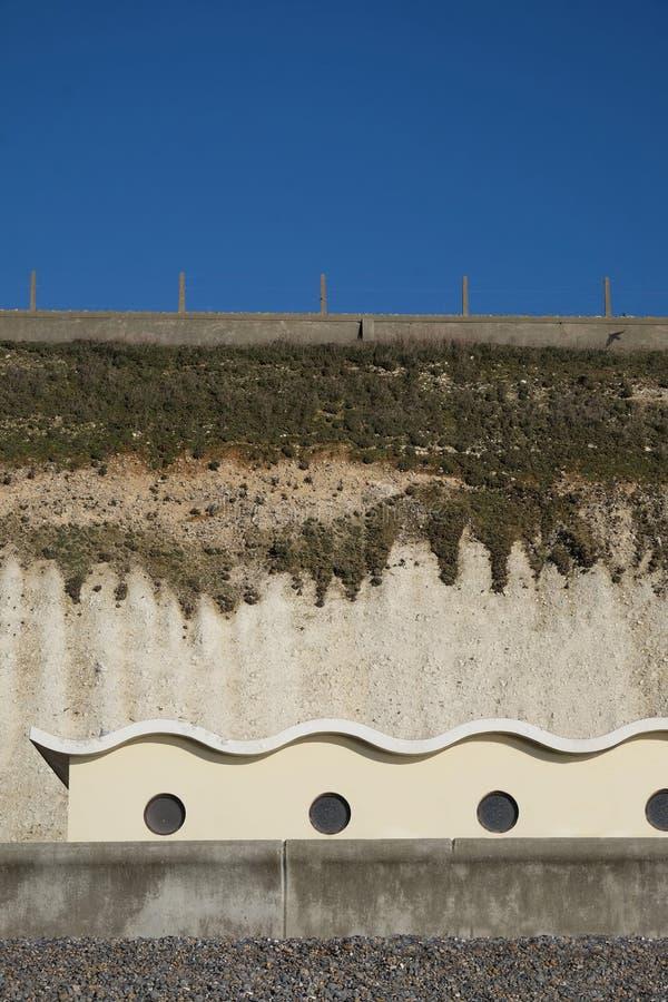 Ovingdean海滩艺术装饰海滩小屋 免版税库存照片