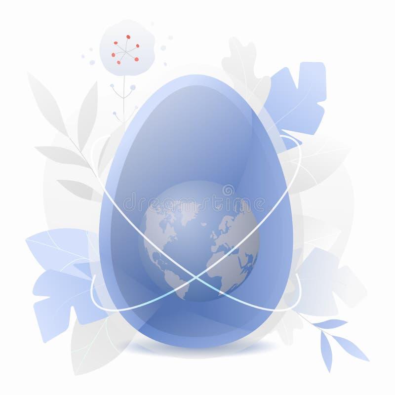 Ovo azul com terra como uma gema ilustração royalty free