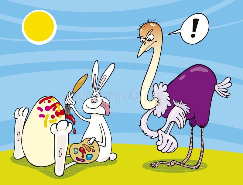 Ovo da avestruz da pintura do coelho de Easter ilustração do vetor