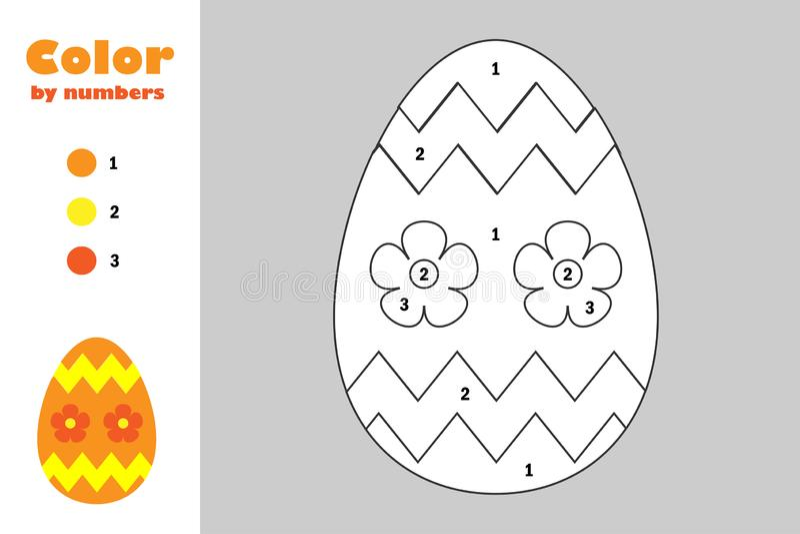 Ovo da decoração no estilo dos desenhos animados, cor pelo número, jogo do papel da educação de easter para o desenvolvimento das ilustração stock