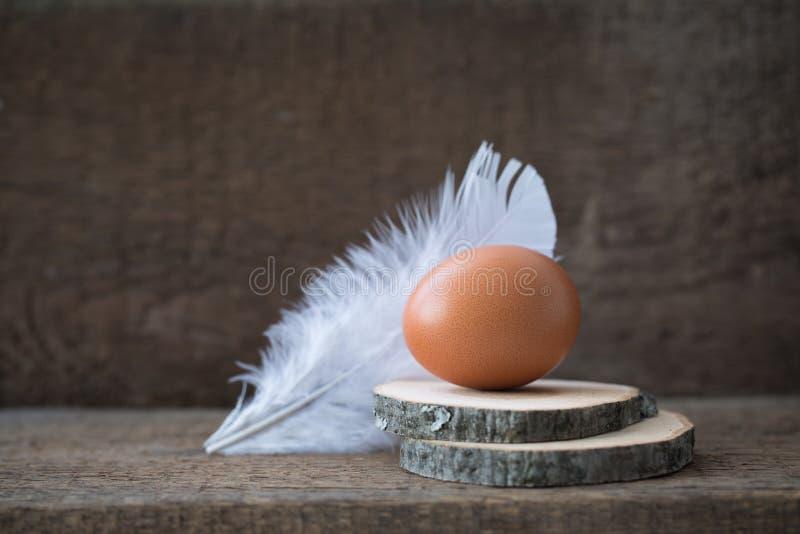 Ovo da galinha com a pena branca no fundo rústico Conceito do cartão da Páscoa fotografia de stock royalty free