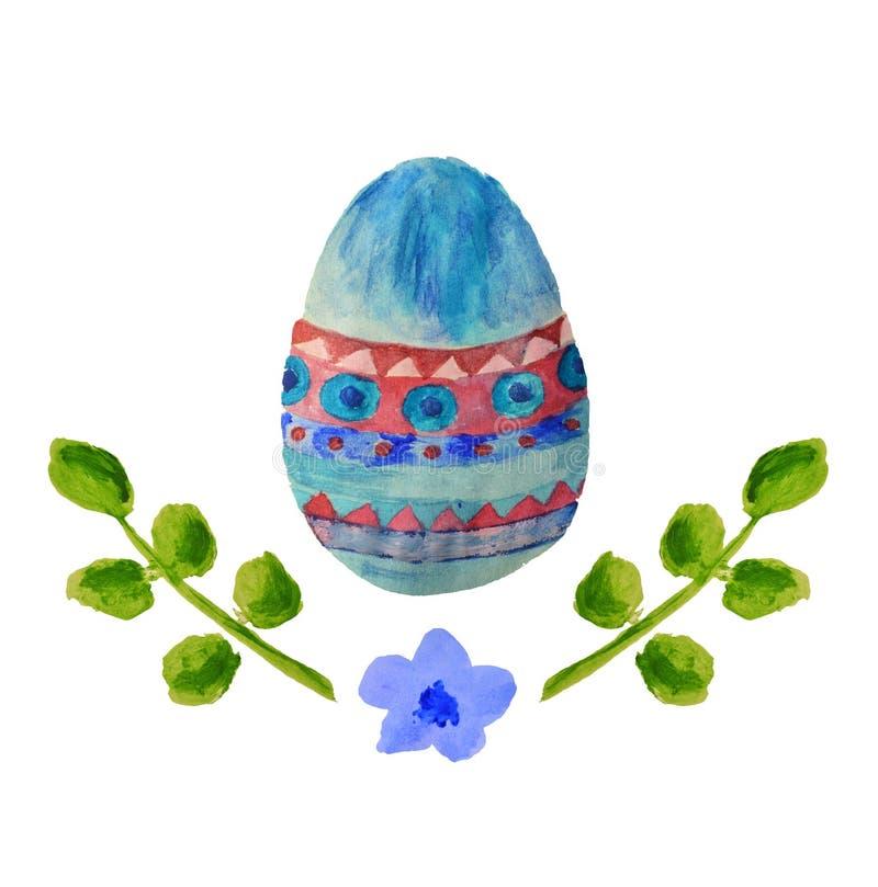 Ovo da páscoa colorido da aquarela, folhas do verde e pouca flor azul ilustração stock
