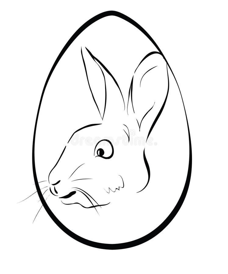 Ovo da páscoa com lebre Esboço de um coelho no ovo oval ilustração royalty free