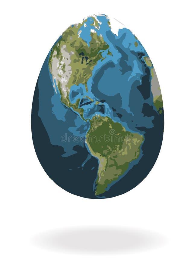 Ovo da páscoa com mapa do mundo ilustração do vetor
