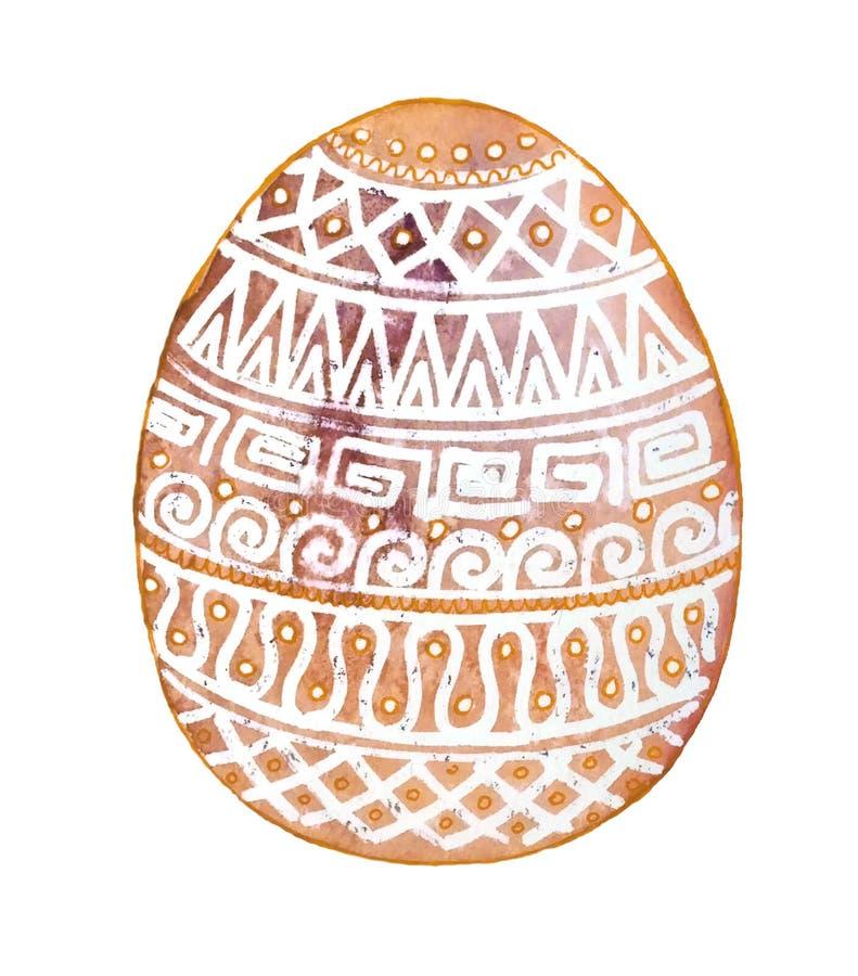 Ovo da páscoa com os ornamento brancos em background11 amarelo ilustração do vetor