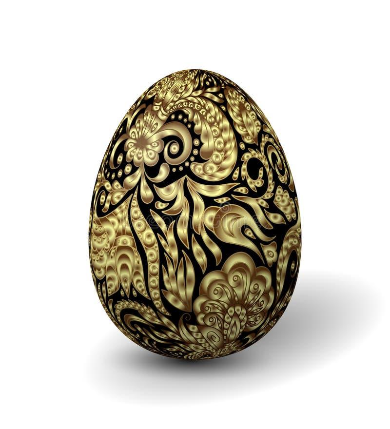 Ovo da páscoa pintado bonito no fundo branco o efeito 3D, sombreia o teste padrão floral ornamentado dourado no ovo preto ilustração royalty free