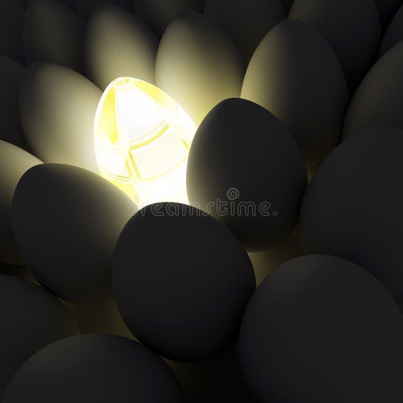 Ovo de brilho original entre ovos simples ilustração do vetor