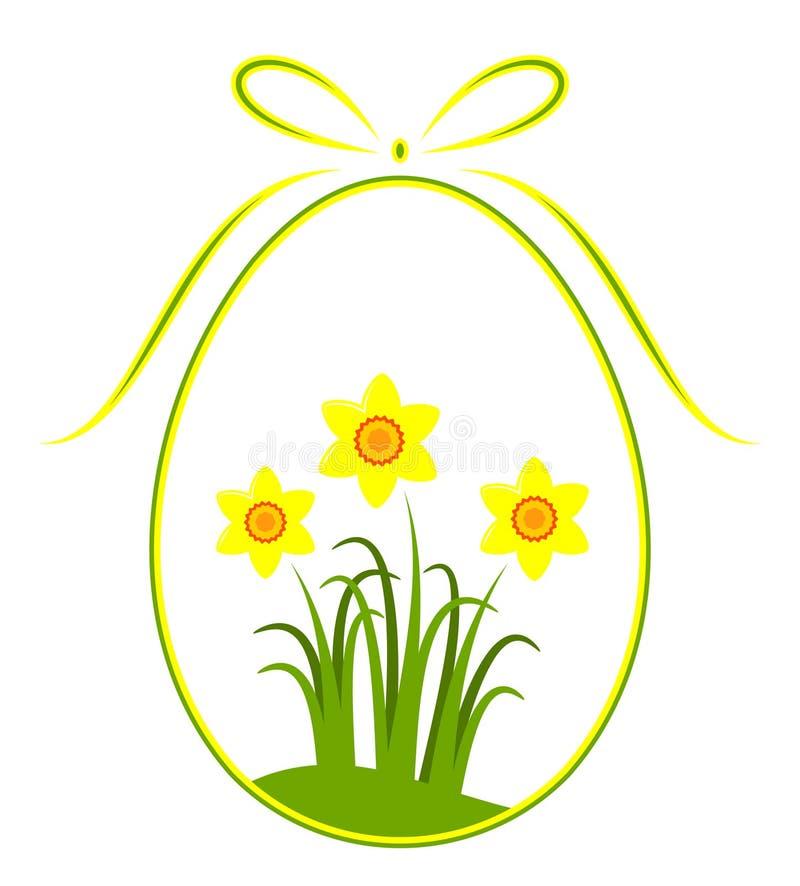 Ovo de Easter com decoração do daffodil ilustração stock