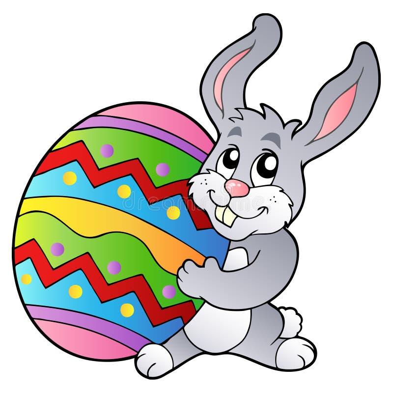 Ovo de Easter da terra arrendada do coelho dos desenhos animados ilustração do vetor