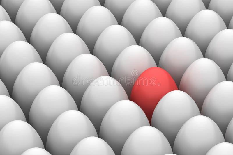 Ovo de easter de sorriso vermelho entre similar ilustração do vetor