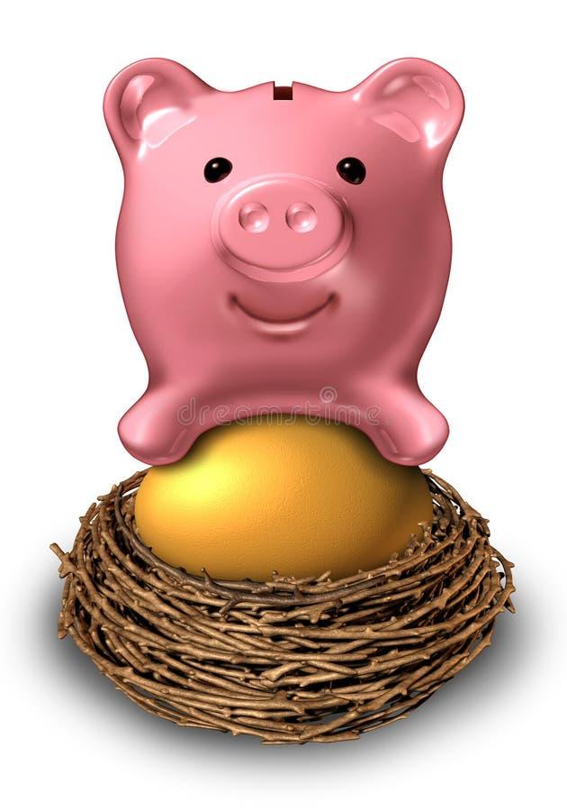 Ovo de ninho das economias ilustração royalty free