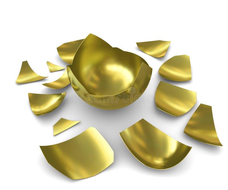 Ovo dourado chocado em um fundo branco ilustração stock