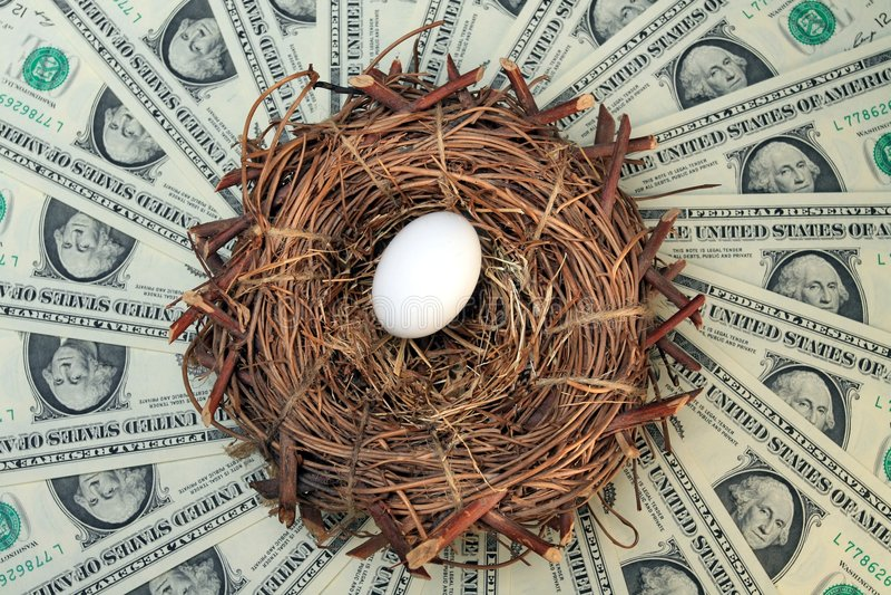 Ovo e dinheiro de ninho imagens de stock