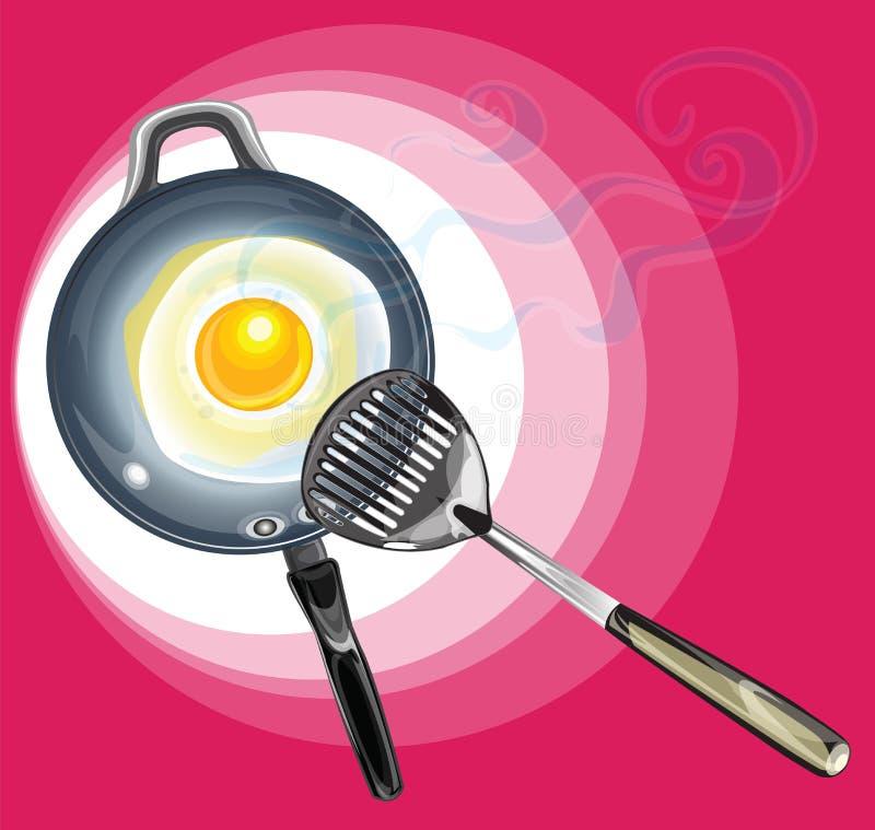 Ovo fritado em Pan And Spade da frigideira ilustração do vetor