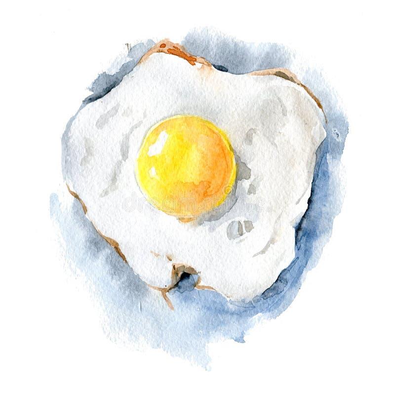 Ovo frito delicioso em um fundo branco Ilustração da aquarela feita à mão Isolado ilustração do vetor
