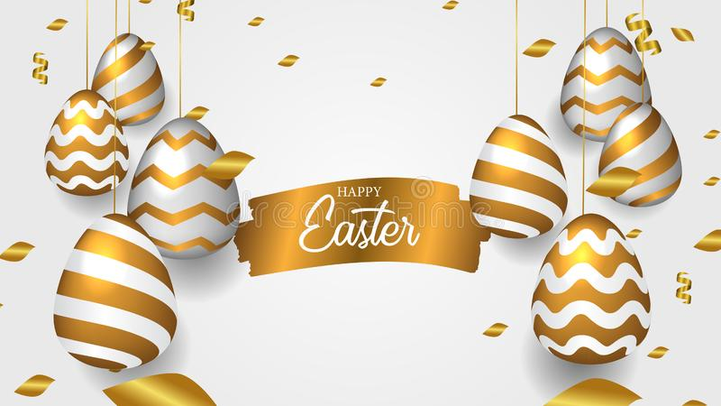 Ovo pendurado decorativo realístico dourado com confetes com evento da celebração da Páscoa do inimigo do ouro da tinta da escova ilustração stock
