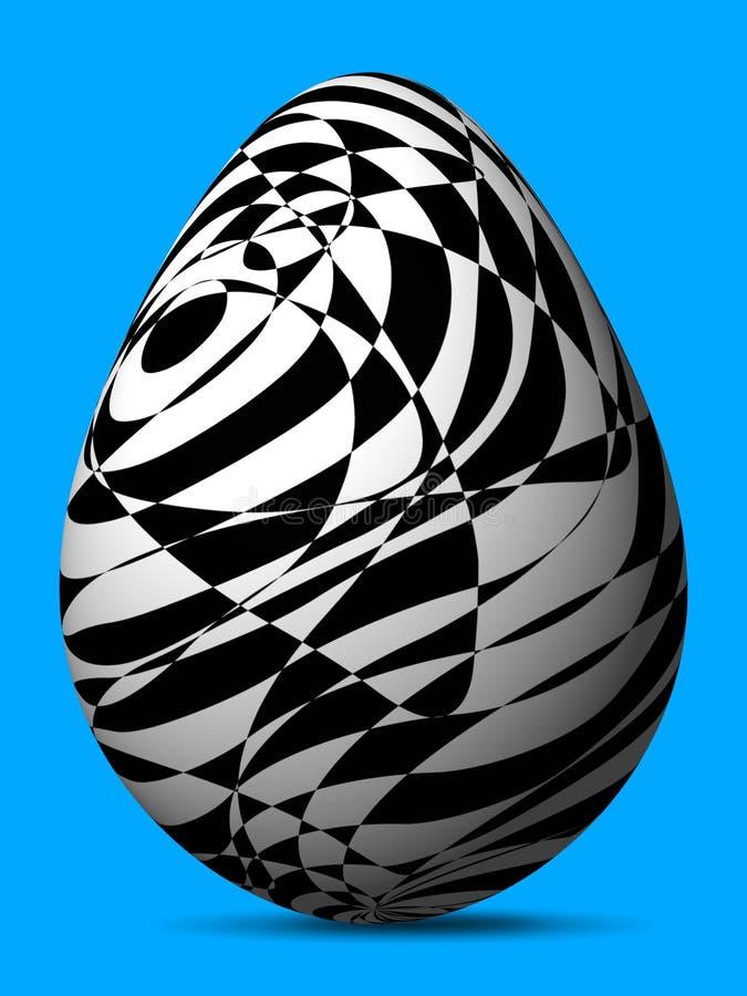 Ovo pintado engenhoso preto e branco de formas e de linhas caóticas diferentes ilustração stock
