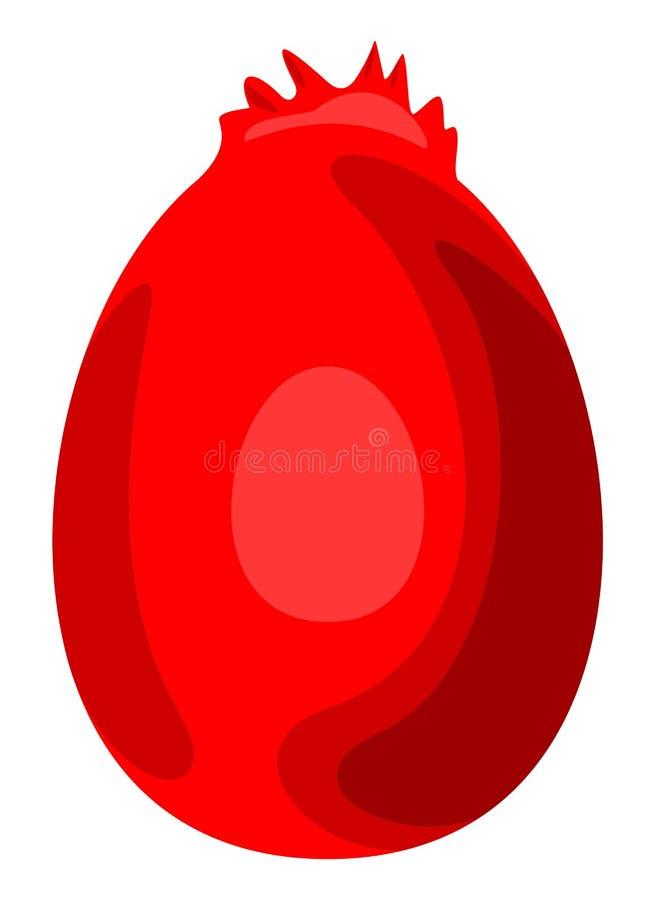 Ovo vermelho da galinha com ilustração isolada crista ilustração royalty free